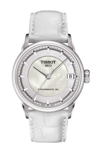 Image of Tissot Women's Luxury Powermatic 80 Croc Embossed Leather Strap Watch, 33mm