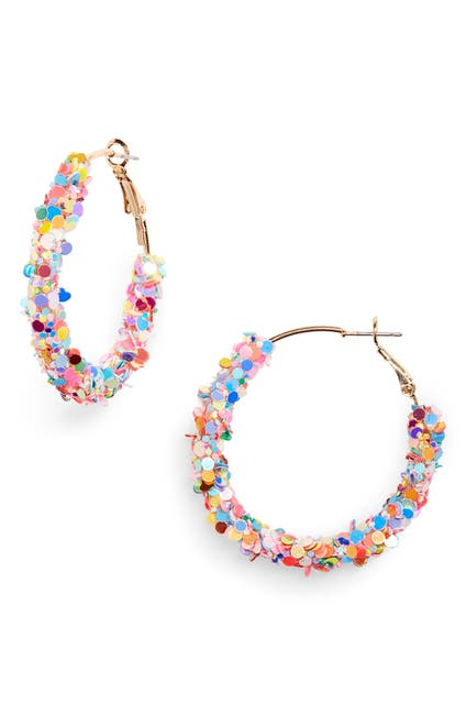 Image of BP. Multicolor Sequin Mini Hoop Earrings