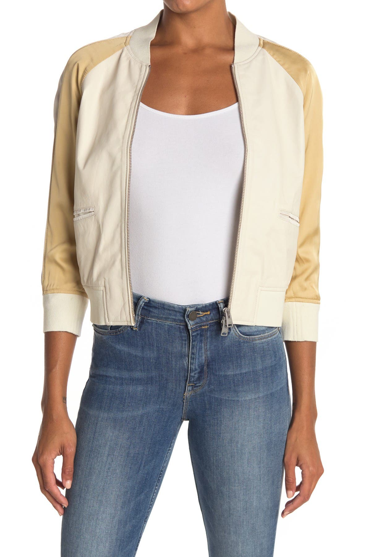 Image of ALLSAINTS Varley 3/4 Sleeve Crop Bomber Jacket