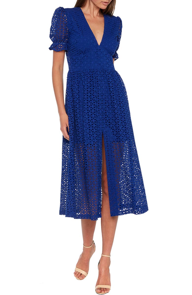 BARDOT Jordan Cotton Eyelet Midi Dress, Main, color, COBALT