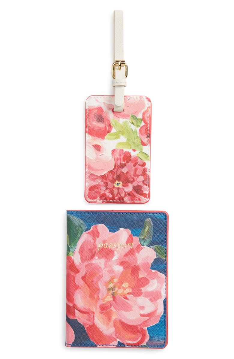 ANTHROPOLOGIE Anais Luggage Tag & Passport Holder Set, Main, color, PINK