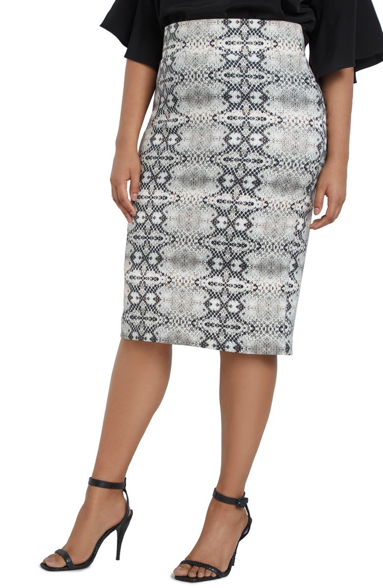 ELOQUII Snake Print Column Skirt, Main, color, HISS OFF