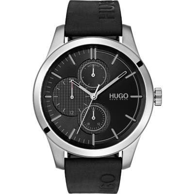 Hugo Discover Multifunction Leather Strap Watch, 4m