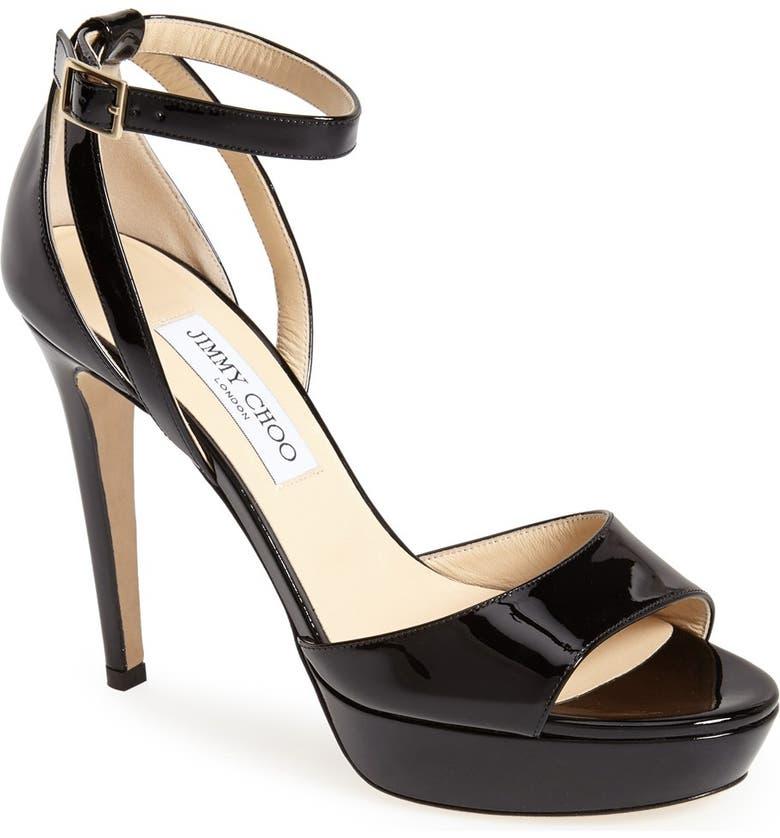 JIMMY CHOO 'Kayden' Ankle Strap Sandal, Main, color, 001
