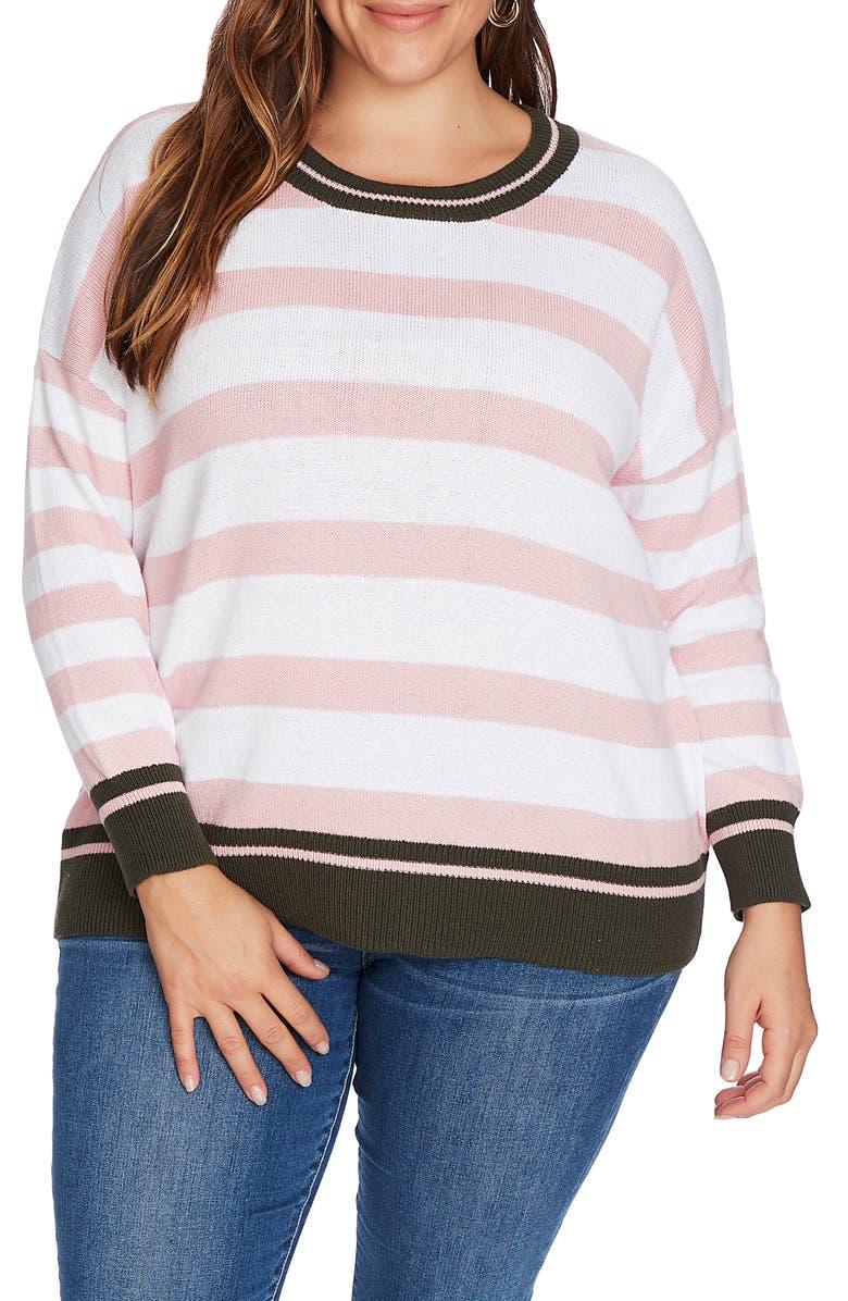 COURT & ROWE Stripe Contrast Cuff Cotton Sweater, Main, color, ULTRA WHITE