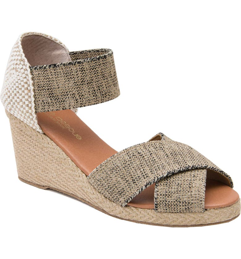 ANDRÉ ASSOUS Erika Espadrille Wedge, Main, color, BLACK AND BEIGE FABRIC