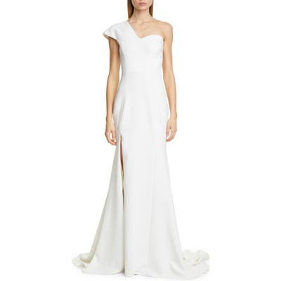 Christian Siriano One-Shoulder Evening Gown, Ivory