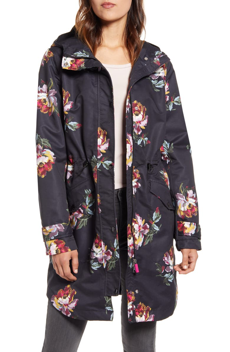 JOULES Right As Rain Golightly Packable Waterproof Hooded Jacket, Main, color, BLACK PEONY