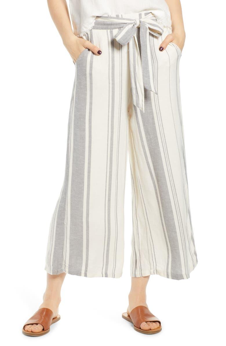 THREAD & SUPPLY Liliana High Waist Wide Leg Crop Pants, Main, color, WHISPER GREY