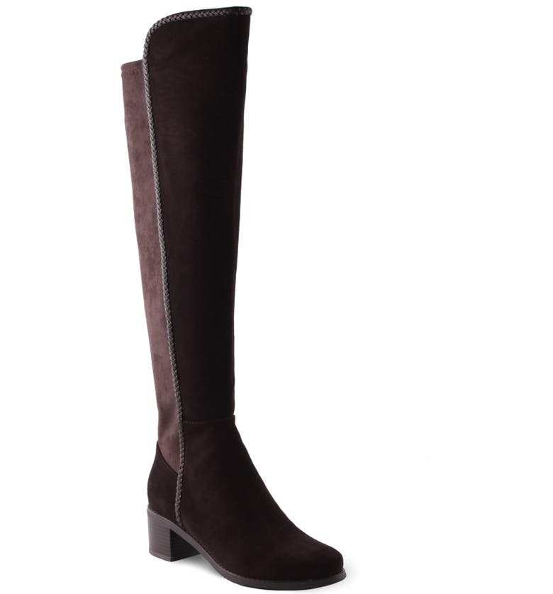 AQUADIVA Florence Waterproof Over the Knee Boot, Main, color, CAFE SUEDE
