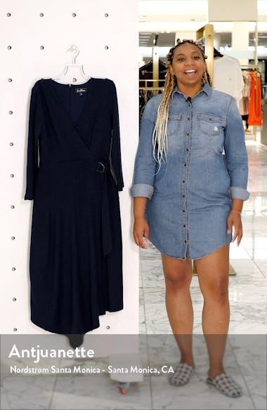 V-Neck Long Sleeve Asymmetrical Faux Wrap Dress, sales video thumbnail