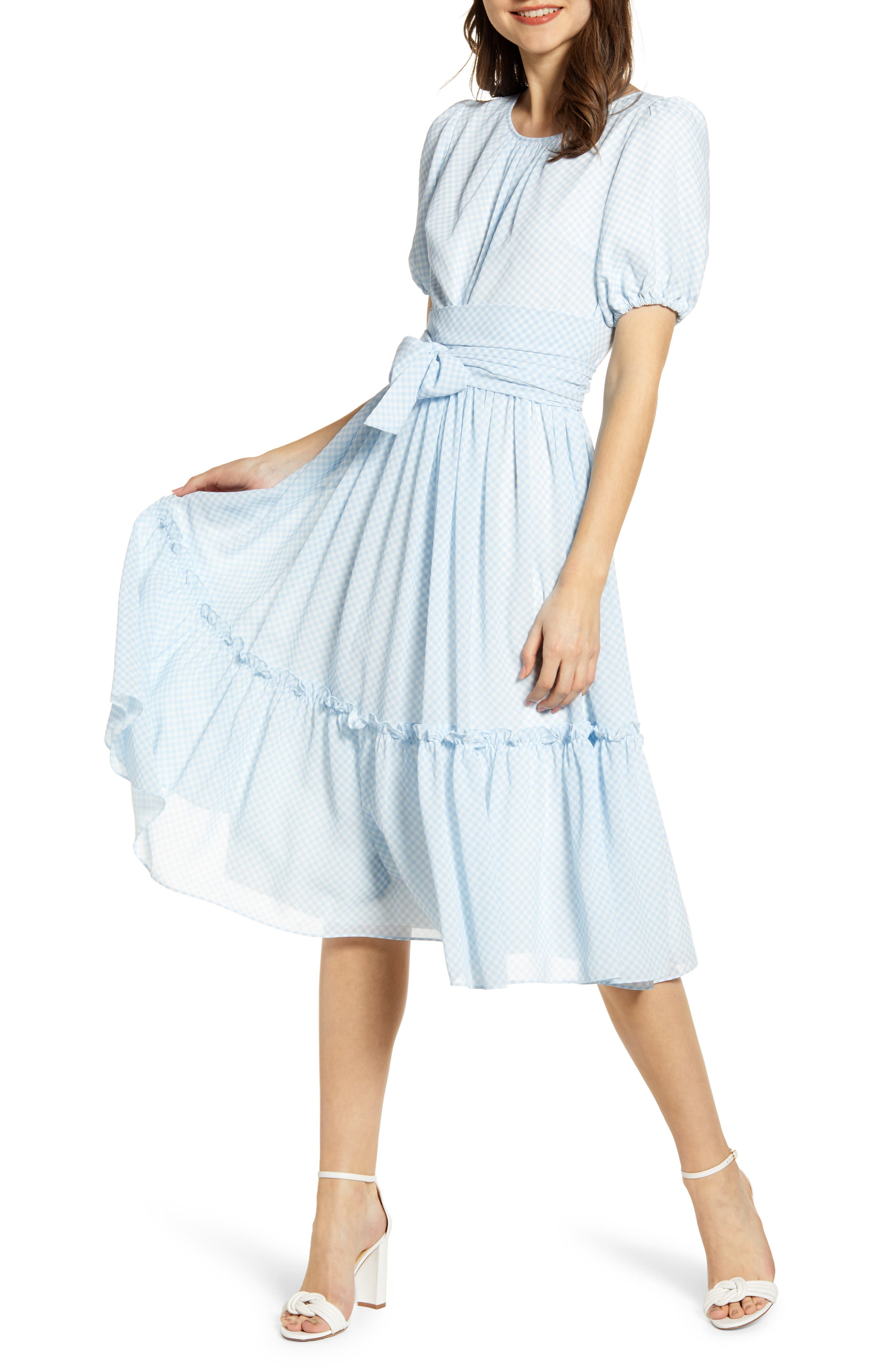 ,                             Gingham Puff Sleeve Dress,                             Main thumbnail 1, color,                             BLUE SKYWAY GINGHAM
