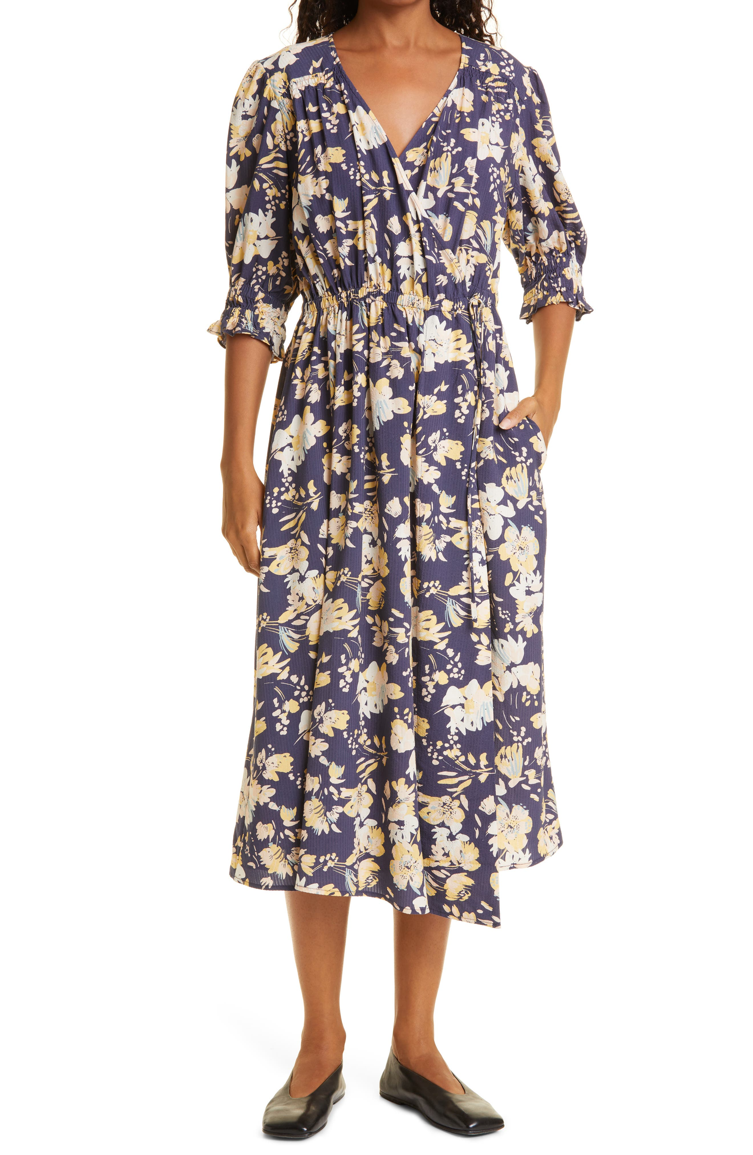 Lucinda Floral Wrap Midi Dress