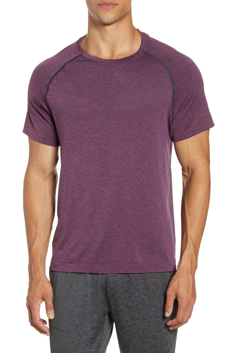 RHONE Reign Tech Perforated Yoke Training T-Shirt, Main, color, DRY ROSE HEATHER