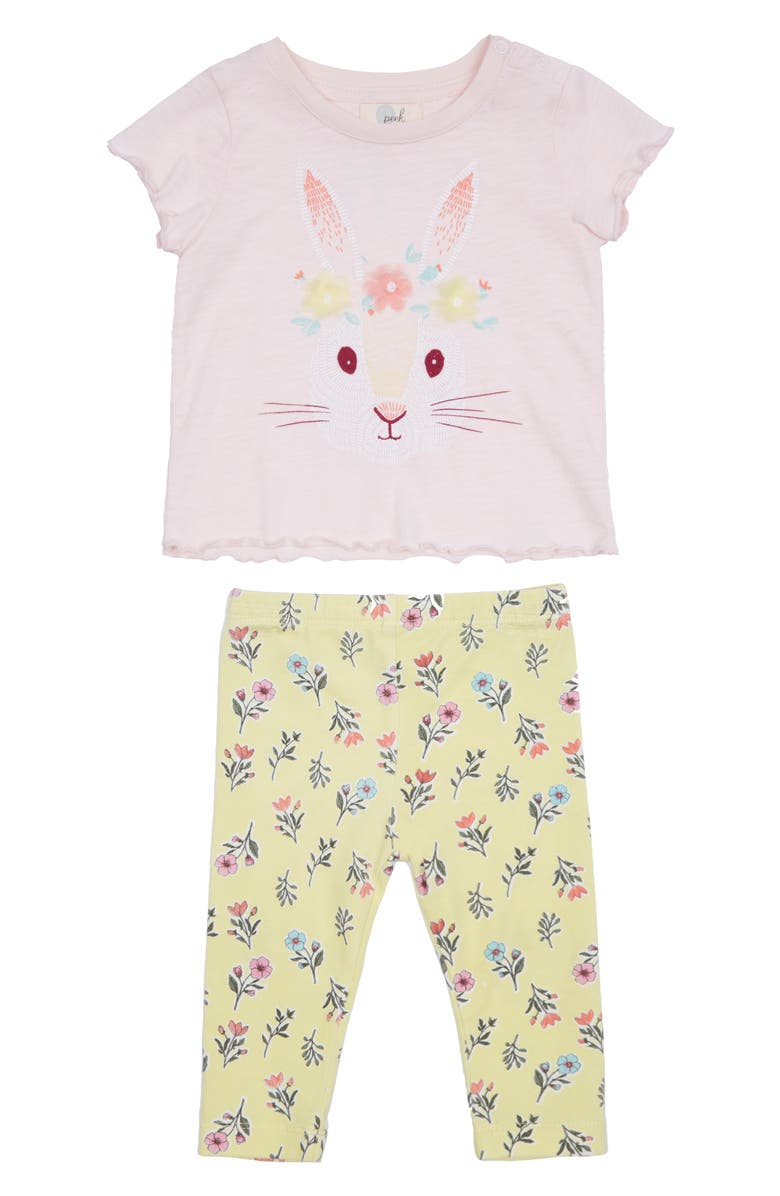 PEEK ESSENTIALS Hadlee Bunny Graphic Tee & Leggings, Main, color, PINK