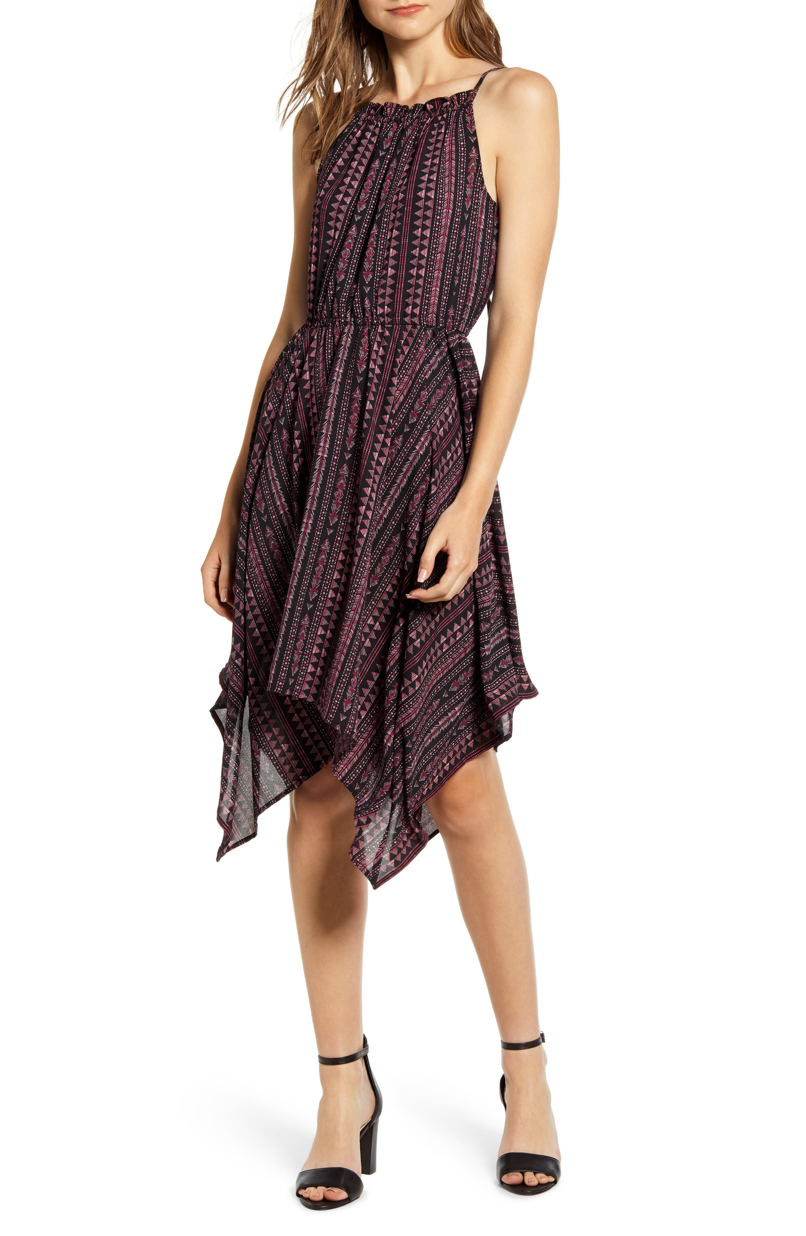 1.state Handkerchief Hem Sleeveless Dress, Pink