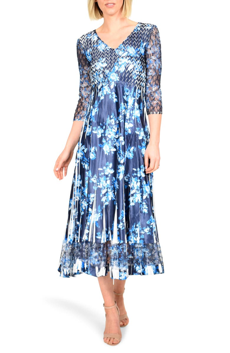 KOMAROV Floral Charmeuse & Chiffon Midi Dress, Main, color, IKAT BLOSSOM