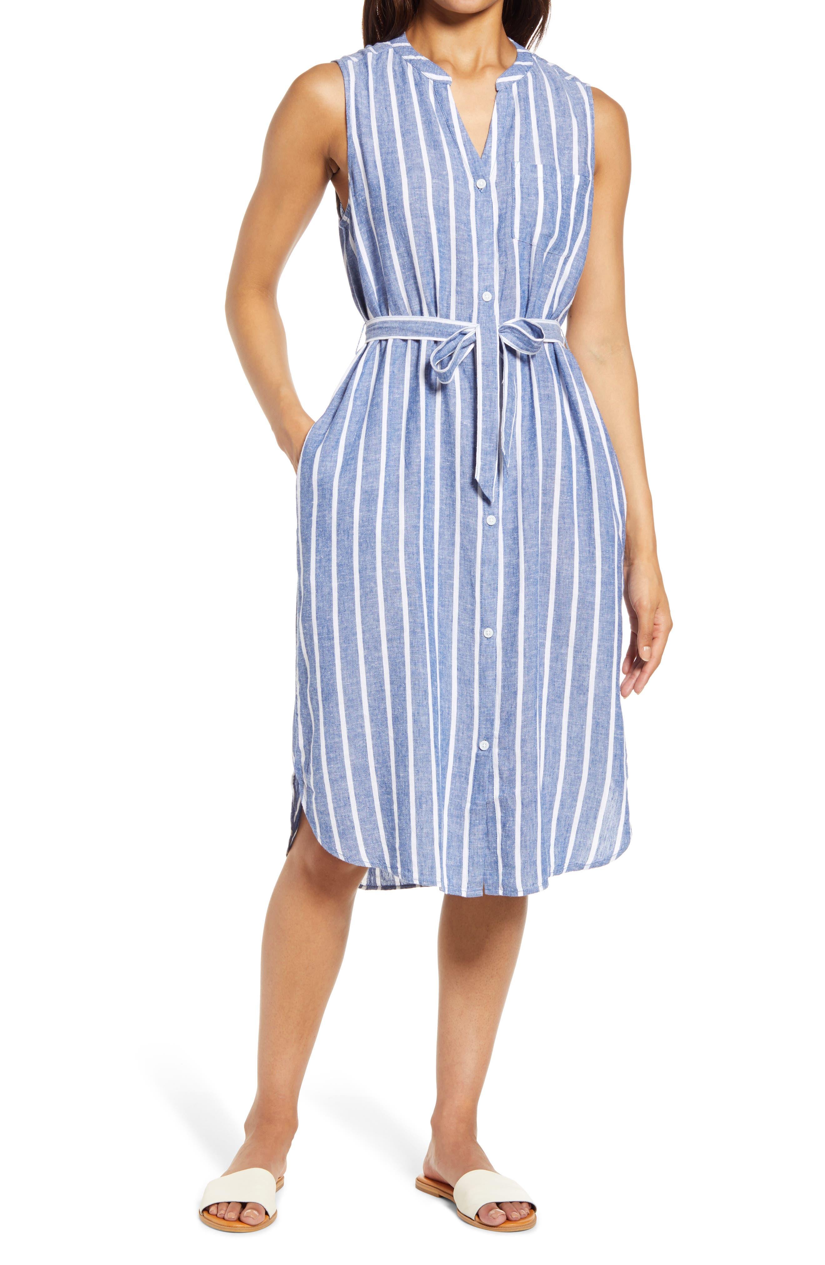 Sydney Stripe Belted Linen & Cotton Shirtdress