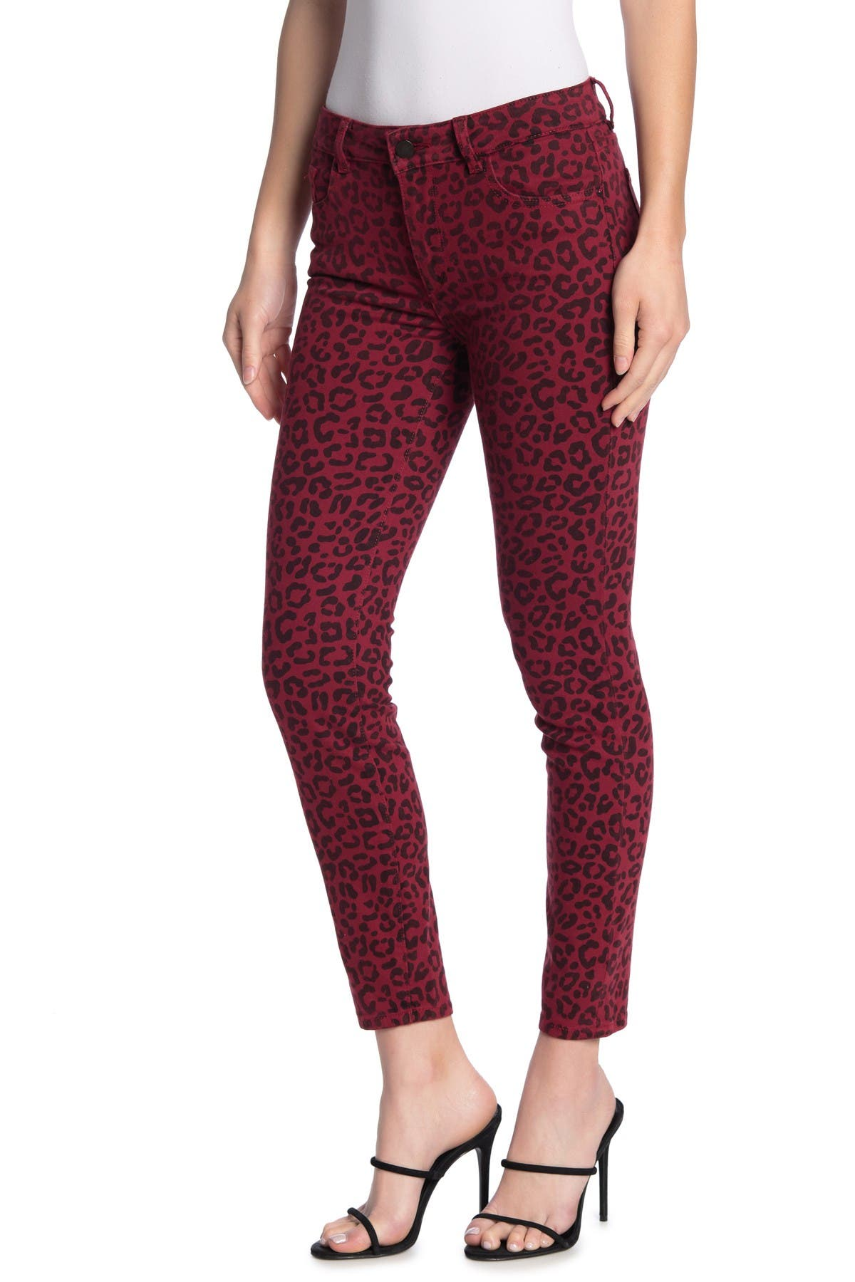 Image of DL1961 Florence Instasculpt Leopard Print Mid Rise Ankle Skinny Jeans