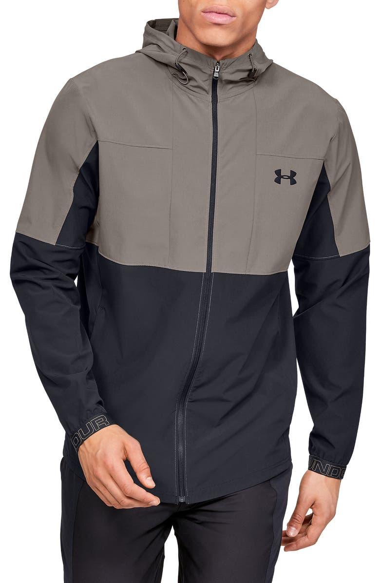 UNDER ARMOUR Vanish Hybrid Zip Hooded Jacket, Main, color, 200