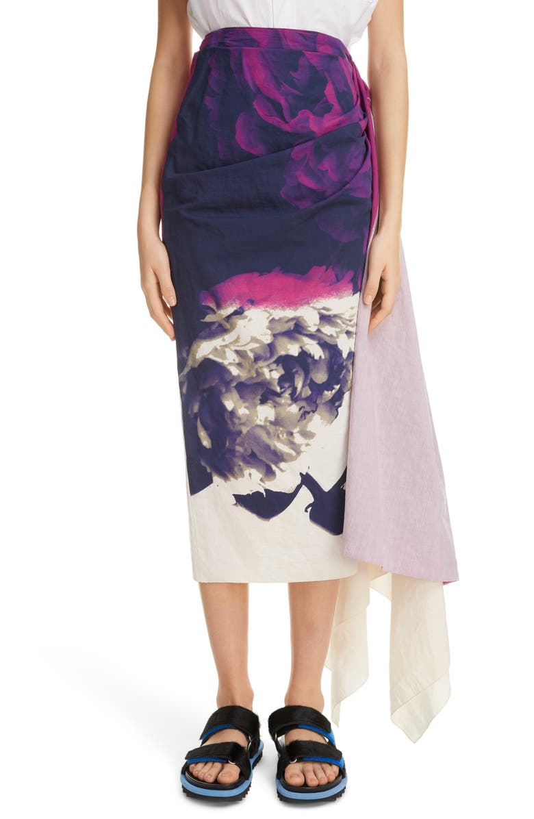 DRIES VAN NOTEN Savin Floral Print Asymmetrical Skirt, Main, color, 500