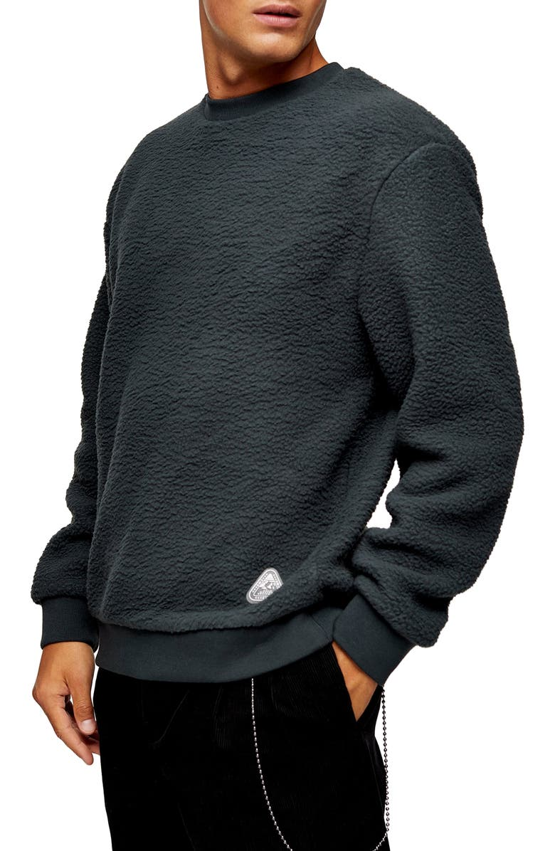 TOPMAN Classic Fleece Crew Sweatshirt, Main, color, CHARCOAL