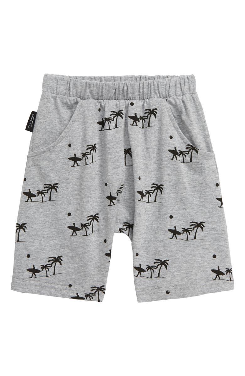 TINY TRIBE Palm Print Shorts, Main, color, GREY MARLE