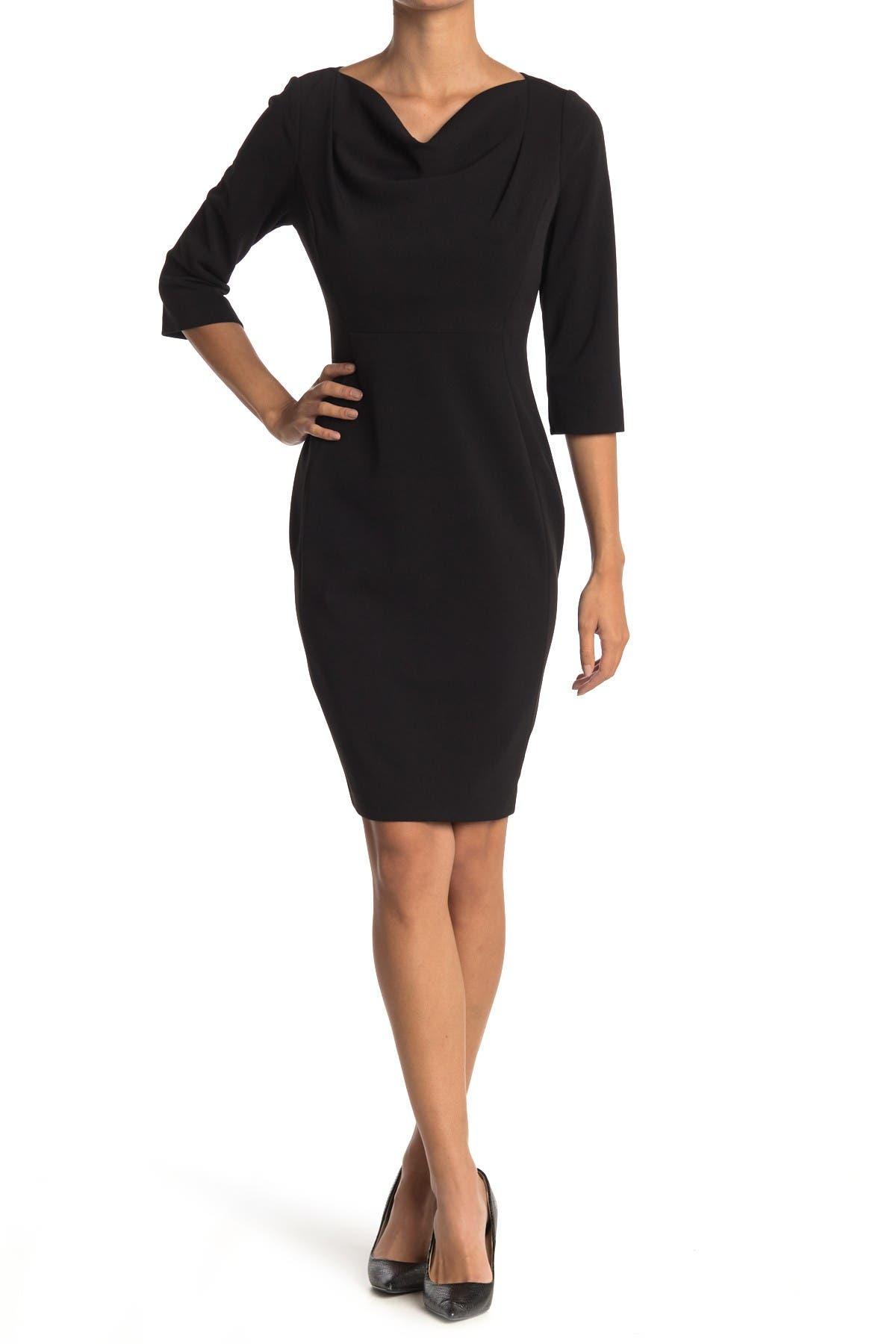 Image of Calvin Klein 3/4 Sleeve Cowl Neck Sheath Dress
