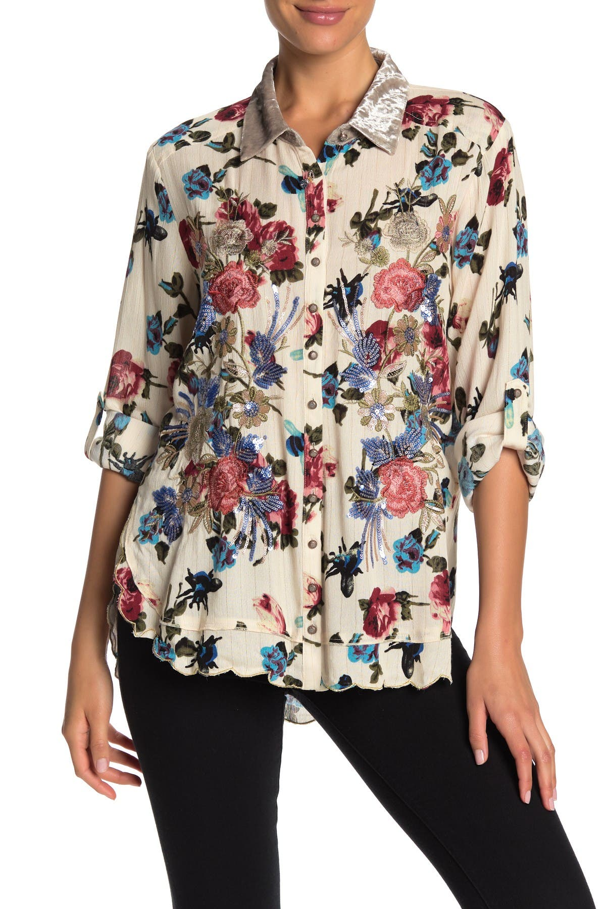 Image of ARATTA For You To Choose Floral Sequin Accent Shirt