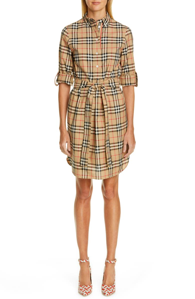 BURBERRY Giovanna Archive Check Shirtdress, Main, color, 250