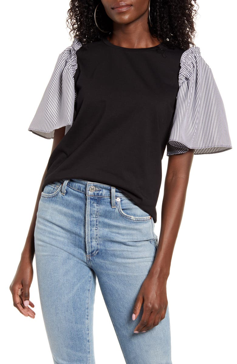 ENGLISH FACTORY Woven Sleeve T-Shirt, Main, color, 001