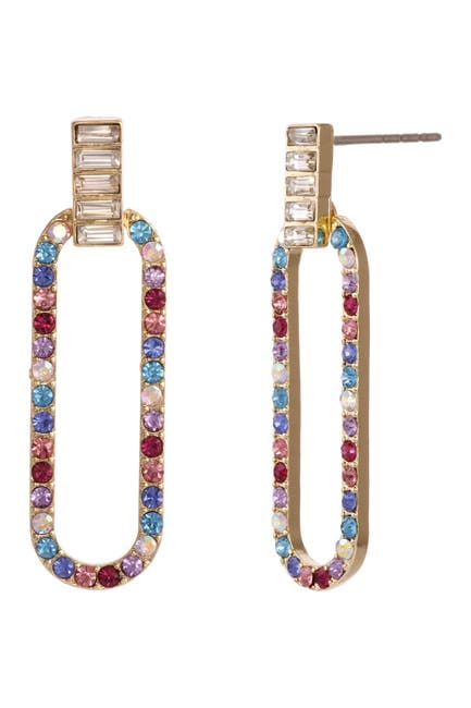 Image of Christian Siriano New York Multi Color Stone Elongated Oval Drop Earrings