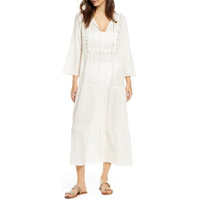 Madewell Tiered Cover-Up Caftan Dress, Ivory