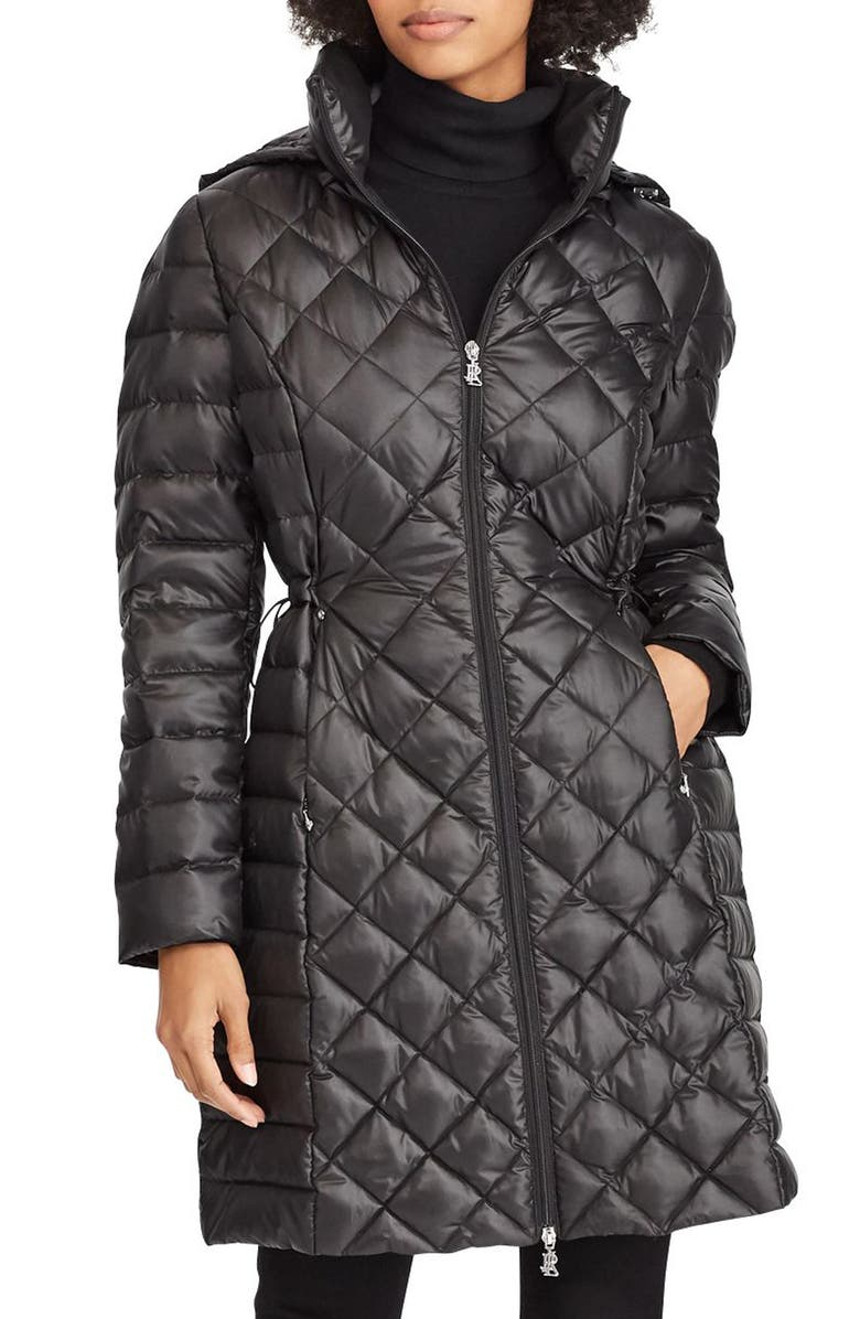 LAUREN RALPH LAUREN Down Packable Quilted Hooded Coat, Main, color, BLACK