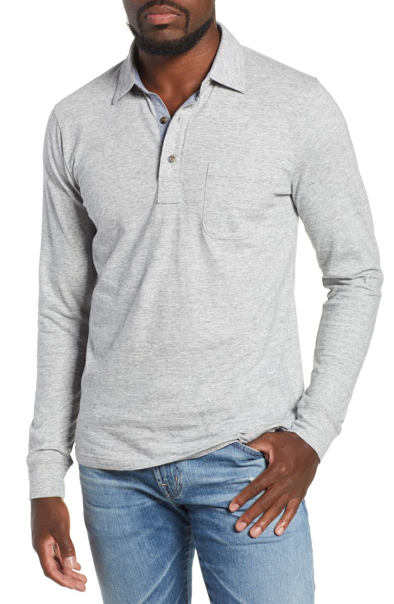 FAHERTY Luxe Heather Long Sleeve Polo, Main, color, ATHLETIC GREY