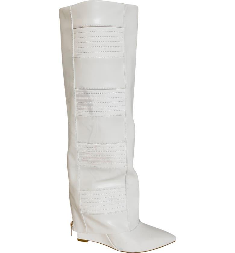 AZALEA WANG Victoria Knee High Boot, Main, color, WHITE