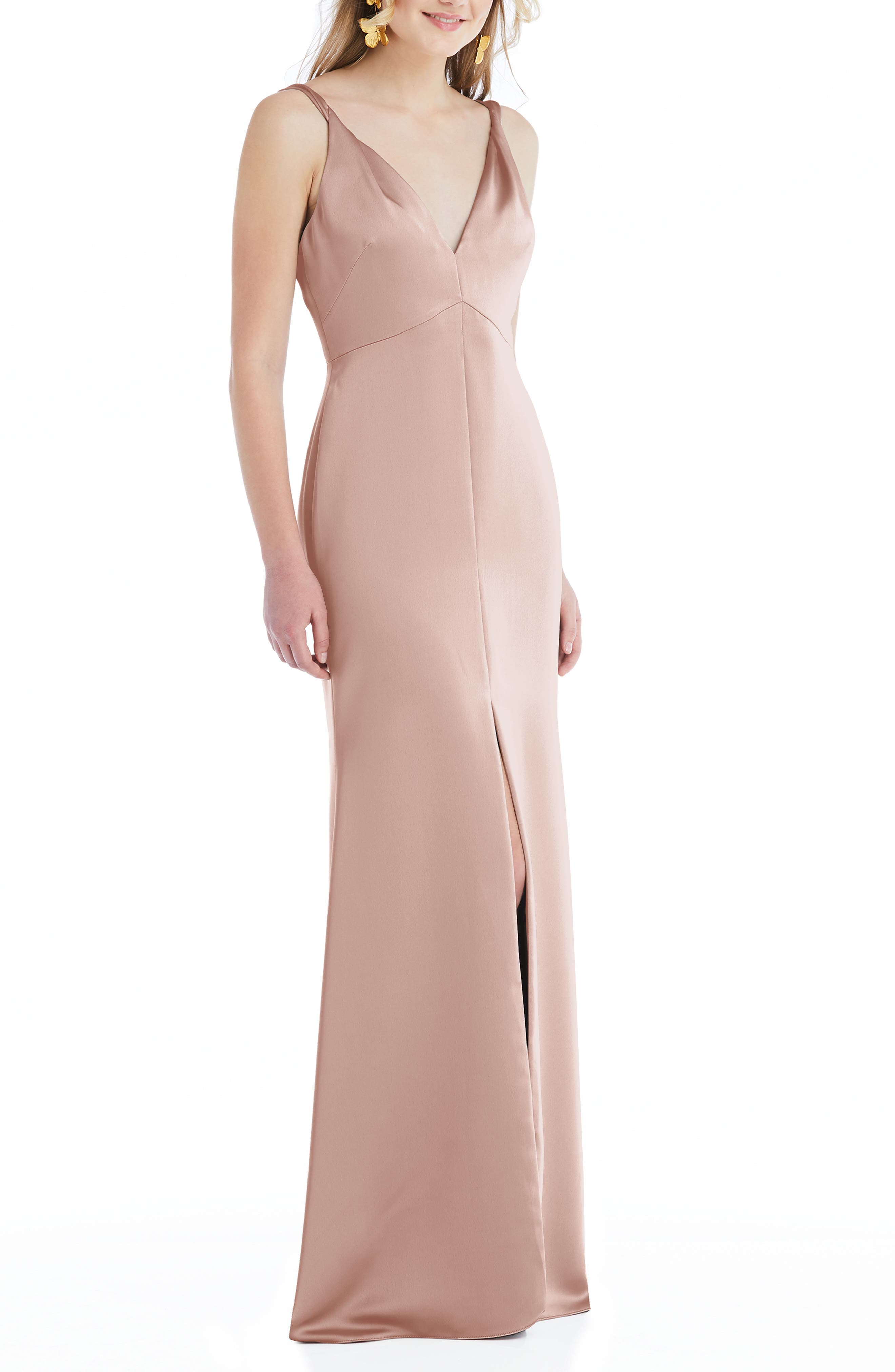 Neve Twist Strap Satin Charmeuse Gown