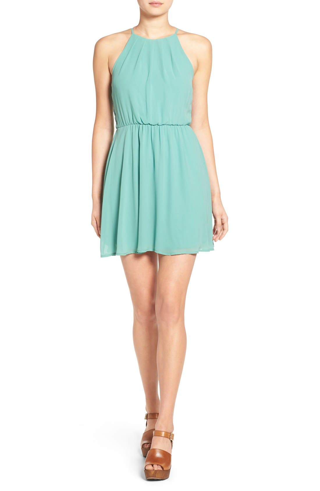 ,                             Blouson Chiffon Skater Dress,                             Main thumbnail 111, color,                             312