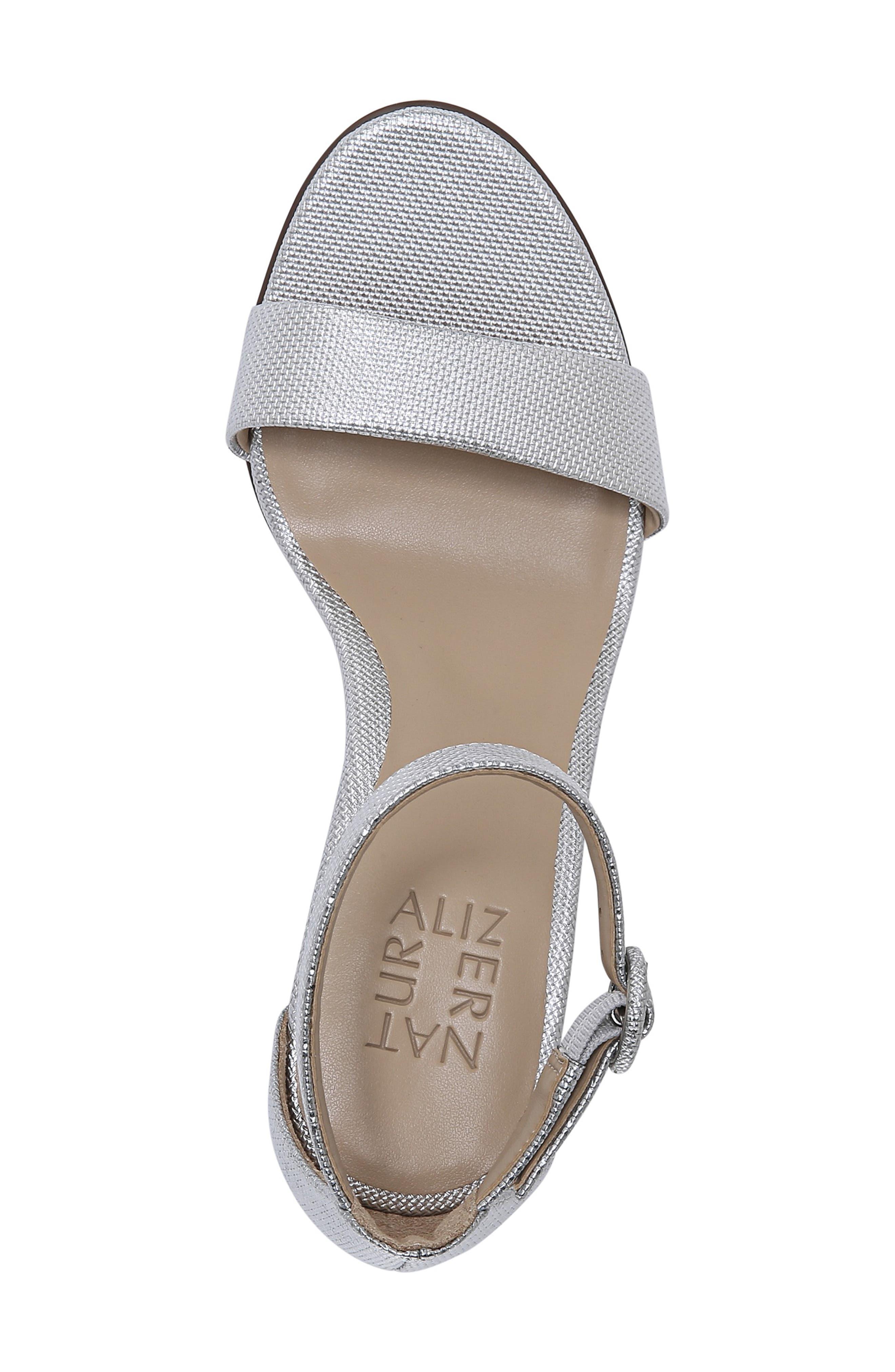 ,                             Kinsley Ankle Strap Sandal,                             Alternate thumbnail 5, color,                             SILVER
