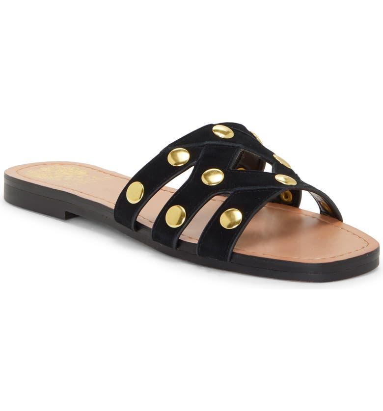 VINCE CAMUTO Vazista Studded Slide Sandal, Main, color, BLACK SUEDE