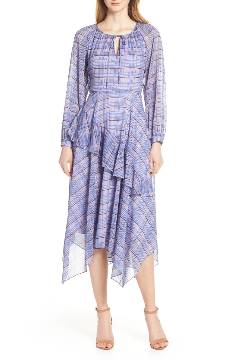 LENON Plaid Asymmetrical Midi Dress, Main, color, 534