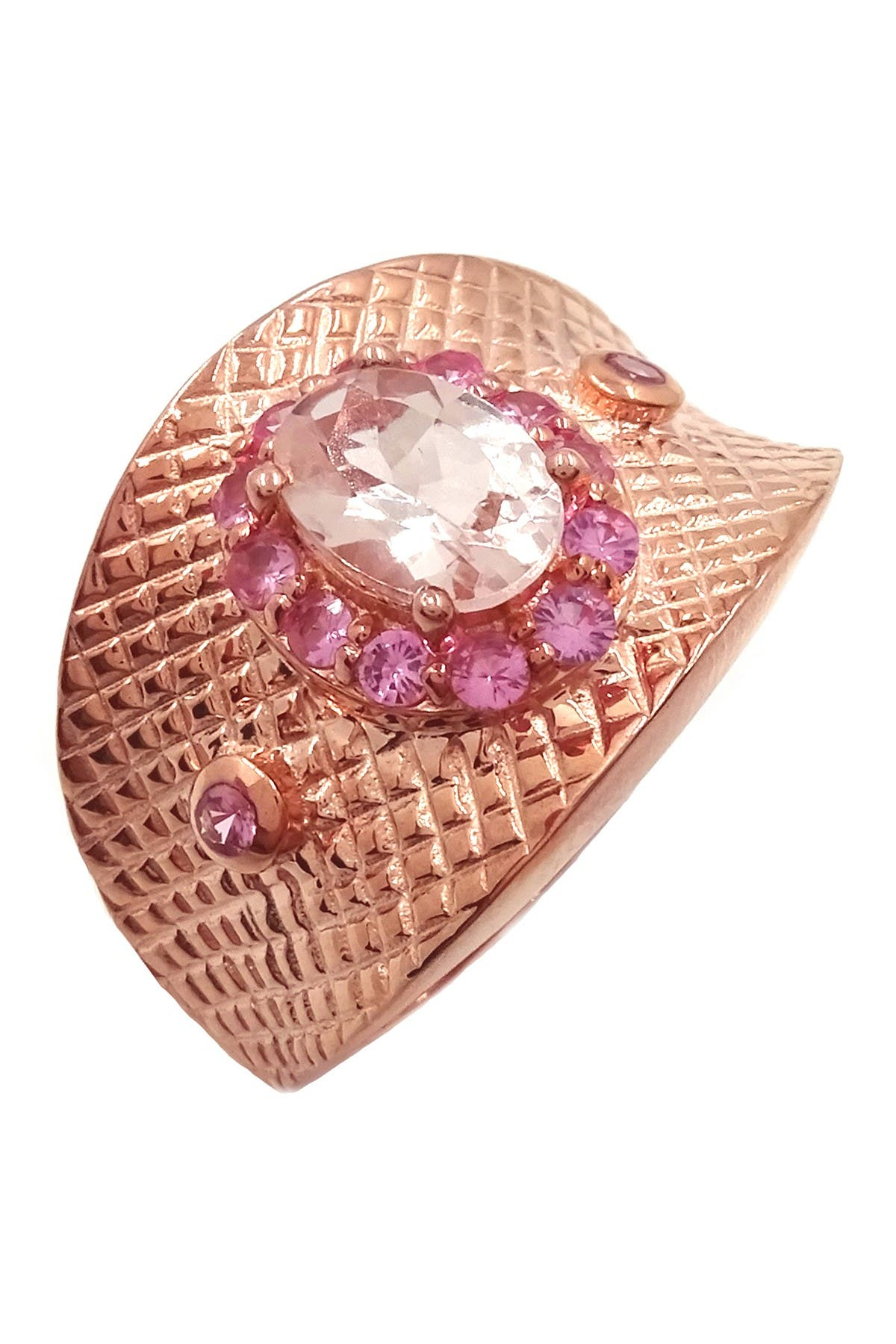 Image of Savvy Cie 18K Rose Gold Vermeil Morganite & Pink Spinel Ring