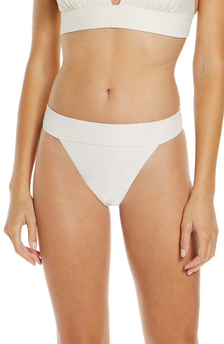 CHELSEA28 Banded Textured Bikini Bottoms, Main, color, IVORY PRISTINE
