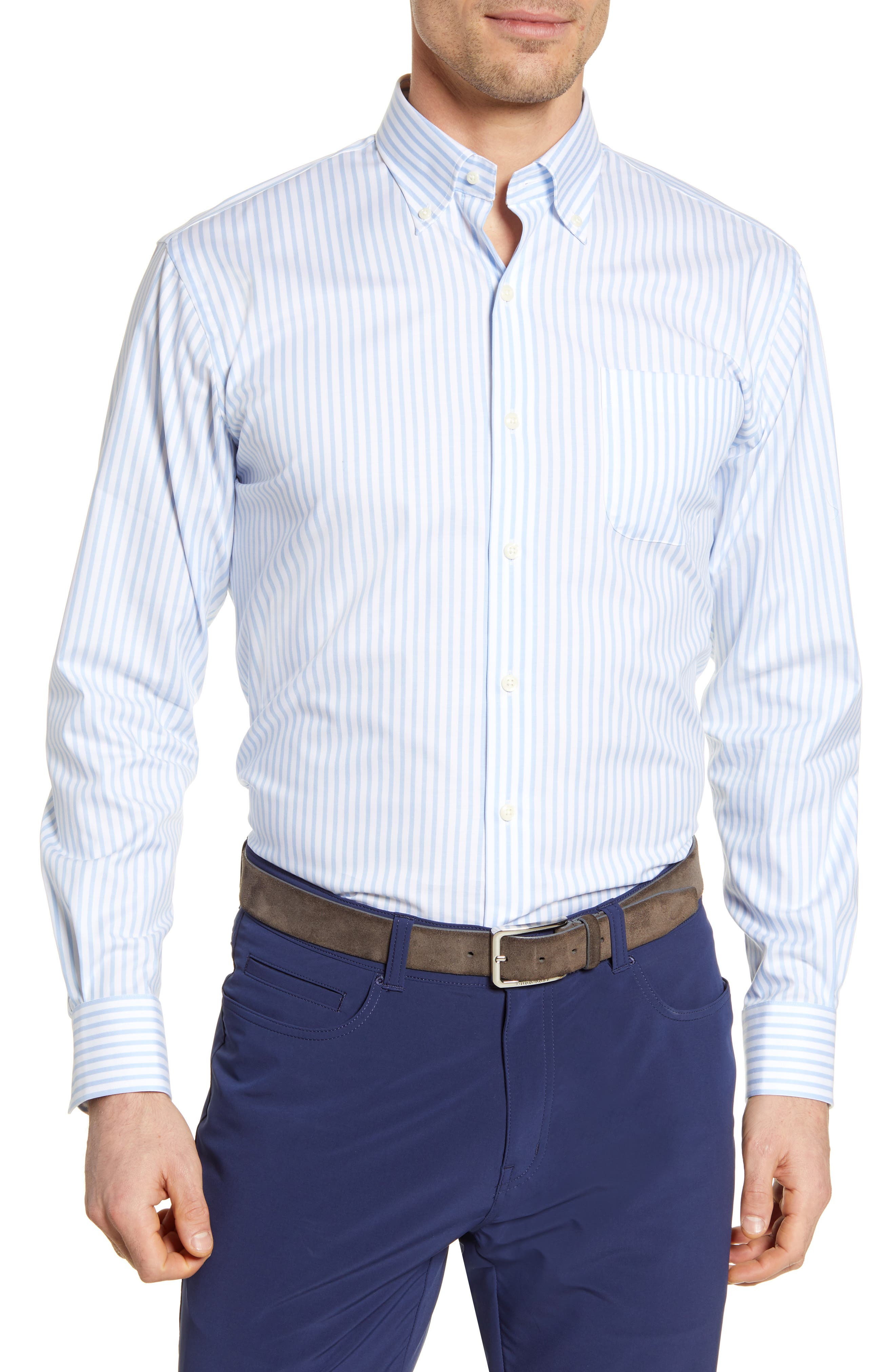 Fresh blue-and-white stripes give a clean, crisp look to a button-down with added stretch for move-with-you comfort. Style Name: Peter Millar Caspian Stripe Button-Down Shirt. Style Number: 6001252. Available in stores.