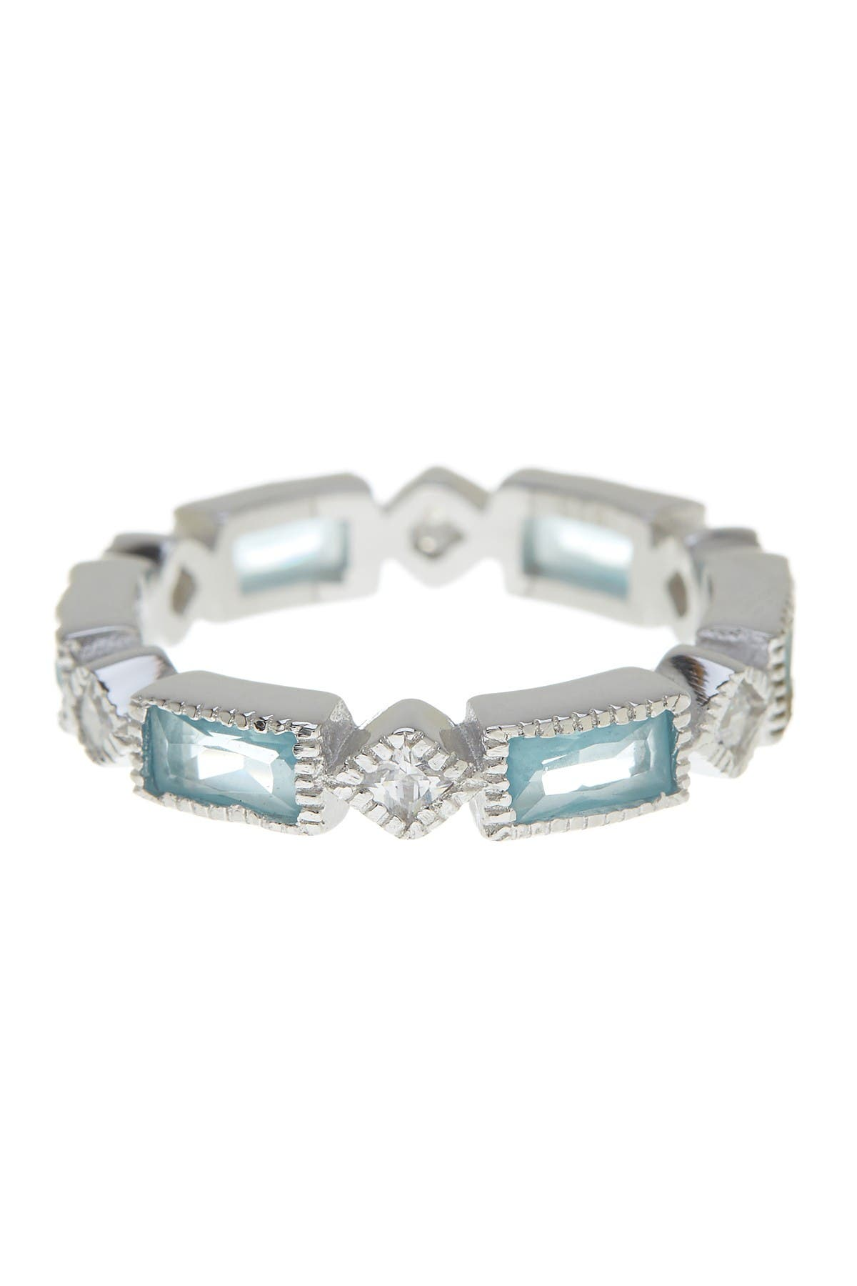 Image of Sterling Forever Sterling Silver Blue Topaz CZ Victorian Band Ring