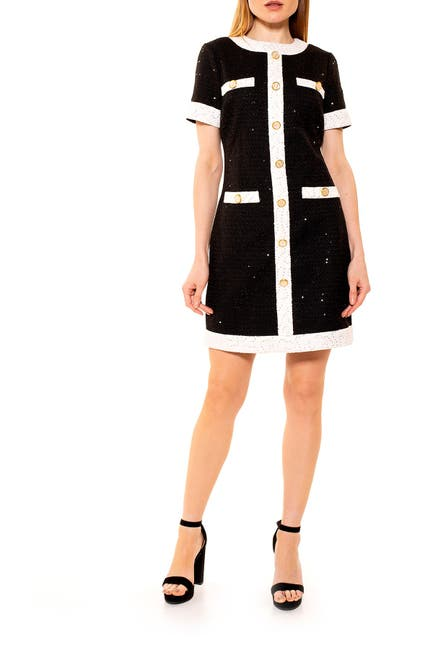 Image of Alexia Admor Colorblock Tweed Shift Dress