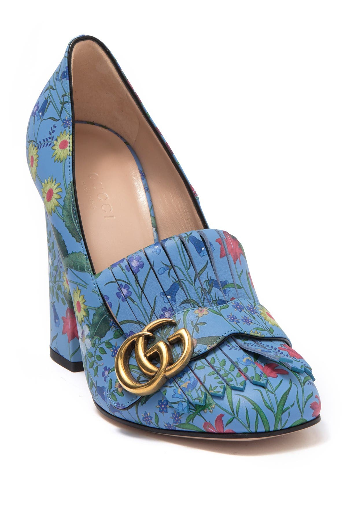 GUCCI   Floral Leather Logo Fringed