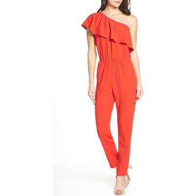 Fraiche By J One-Shoulder Ruffle Jumpsuit, Red