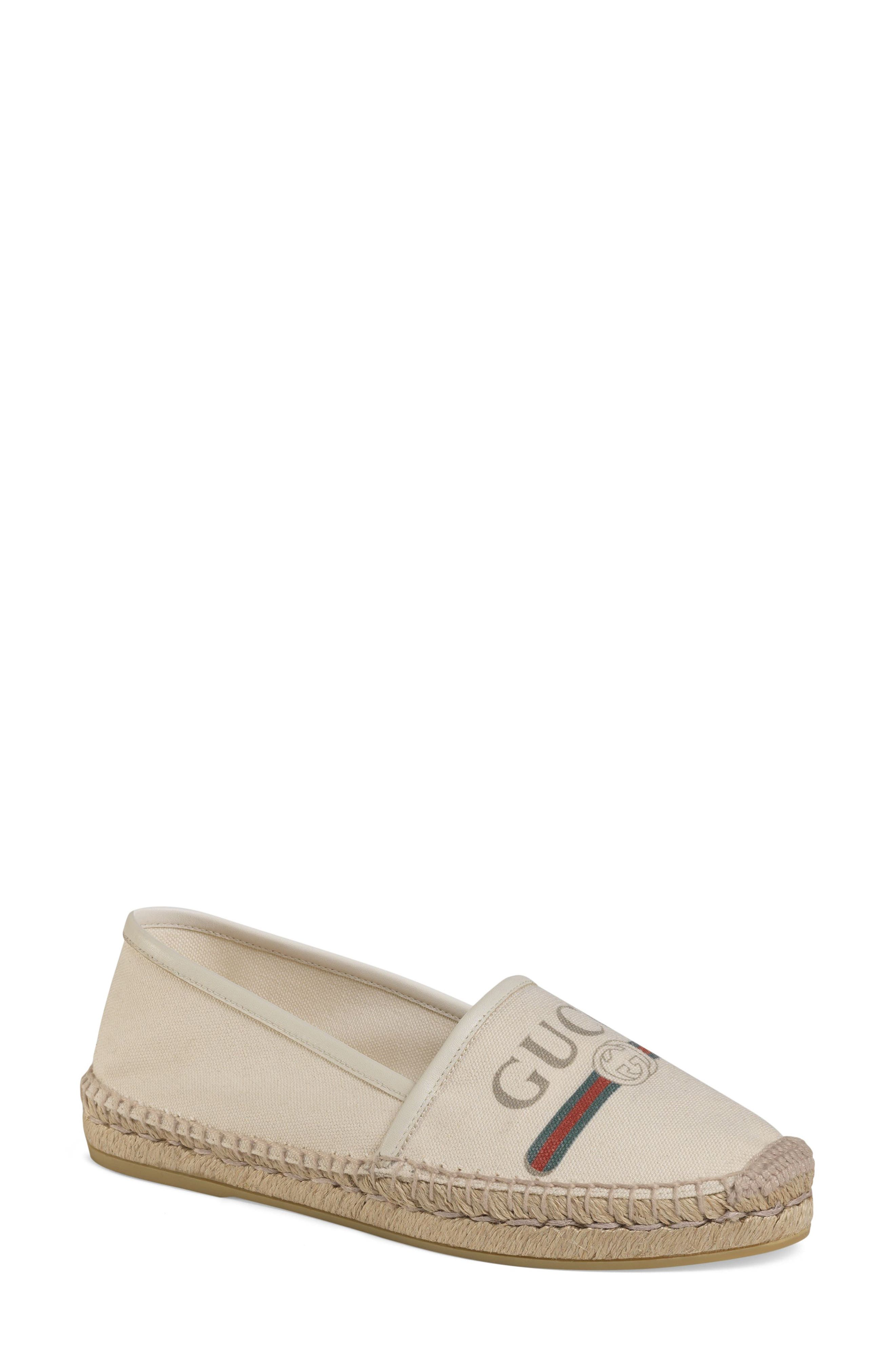 Gucci Logo Espadrille Flat, White
