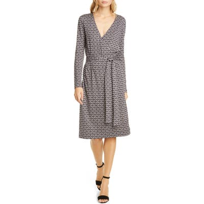 Dvf Karis Geo Print Long Sleeve Faux Wrap Silk Dress, Black